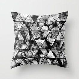 Triangular Whispers - Black and white, geometric abstract Throw Pillow