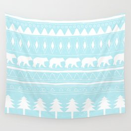 From Bears Winter And Christmas - Cute teal XMas Pattern Wall Tapestry