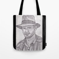 indiana jones Tote Bags featuring Indiana by jamestomgray