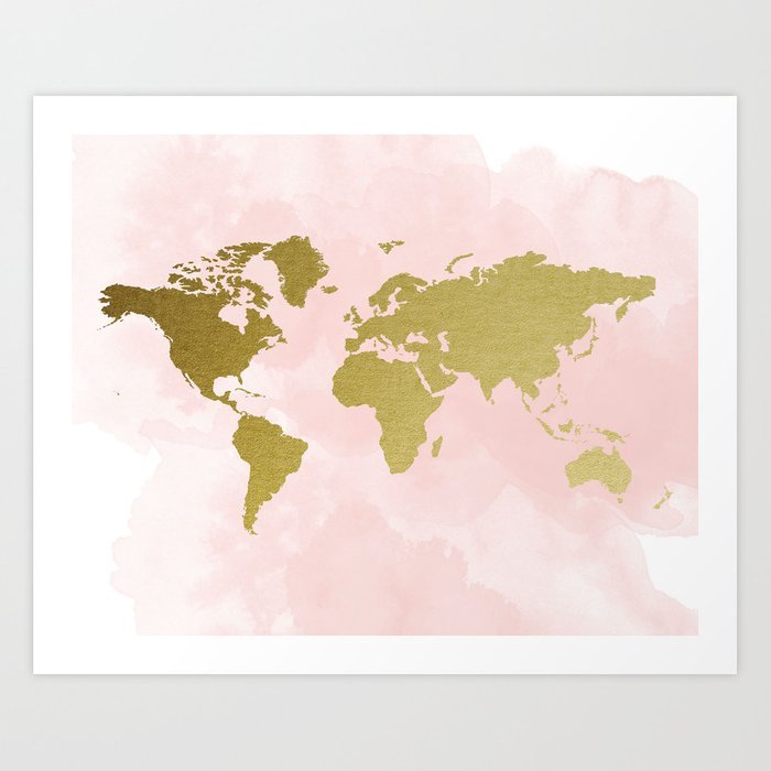 Gold World Map Poster.Gold World Map Poster Art Print By Peachandgold Society6