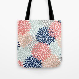 Floral Bloom Print, Coral, Pink, Pale, Aqua, Blue, Gray, Navy Tote Bag