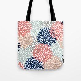 Floral Bloom Print, Living Coral, Pale Aqua Blue, Gray, Navy Tote Bag