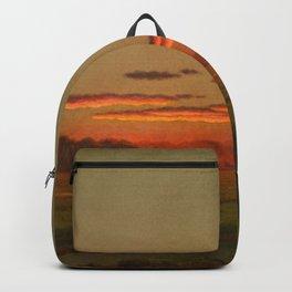 Martin Johnson Heade - Sunset, Haywagon in the Distance Backpack