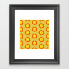 Happy Cartoon Sun Pattern Framed Art Print
