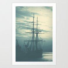 Blue Ship Art Print