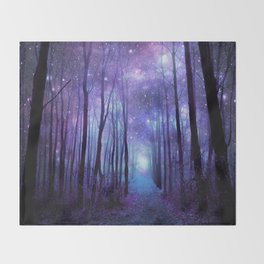 Fantasy Forest Path Icy Violet Blue Throw Blanket