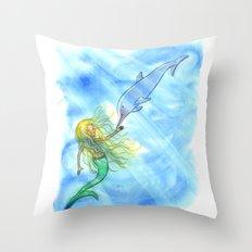 Mermaid and Dolphin - Nautical Ocean Art Throw Pillow