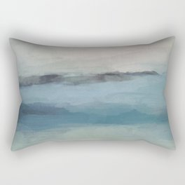 Abstract Painting, Light Blue, Teal, Sage Green Prints Modern Wall Art, Affordable Stylish Rectangular Pillow