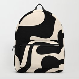 Retro Liquid Swirl Abstract in Black and Almond Cream 2 Backpack