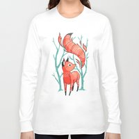fantasy Long Sleeve T-shirts featuring Winter Fox by Freeminds