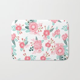 Peony florals basic girly trendy floral bouquet white fresh colors modern botanicals Bath Mat