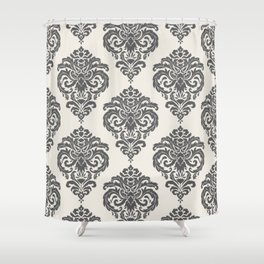 Classic Floral Damask Pattern – Charcoal Gray and Cream Shower Curtain