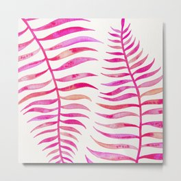 Pink Palm Leaf Metal Print