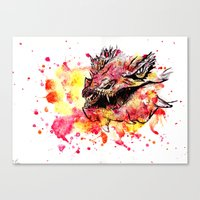 smaug Canvas Prints featuring Watercolor Smaug by Trinity Bennett