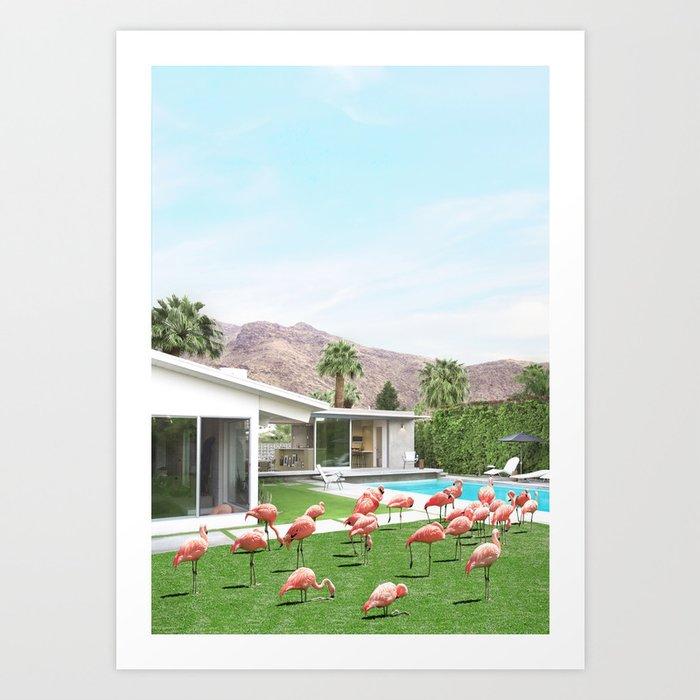 Flamingos in Palm Springs Kunstdrucke