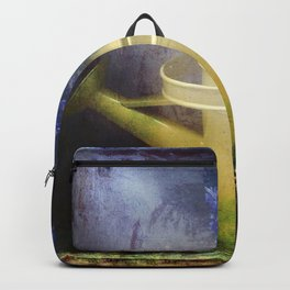 One yellow watering can with violet flowers Backpack