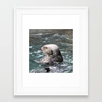 otter Framed Art Prints featuring Otter by RMK Photography
