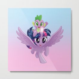 g4 my little pony Twilight Sparkle and Spike Metal Print