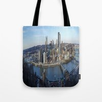 pittsburgh Tote Bags featuring PITTSBURGH CITY by Stephanie Bosworth
