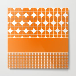 Decorative Bright Orange Multi Pattern Design Metal Print
