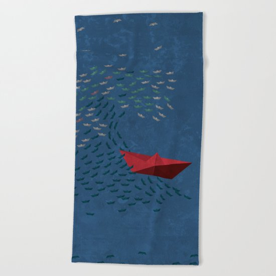 Origami Wave Beach Towel