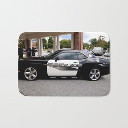 Gainesville Florida Police Challenger Black and White Patrol Car Bath Mat