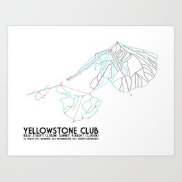 Yellowstone Club, MT - Minimalist Trail Art Art Print