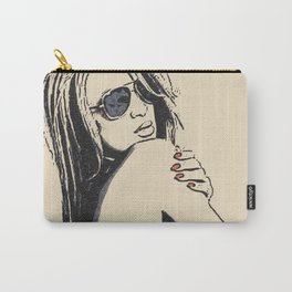 Hot topless blonde in sunshades, curvy body woman nude, naked beauty in sunglasses, hot erotic art Carry-All Pouch