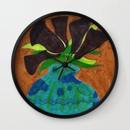 Black Calla Lilies in Blue Vase Wall Clock