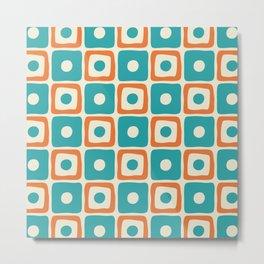 Mid Century Modern Square Dot Pattern 771 Turquoise and Orange Metal Print