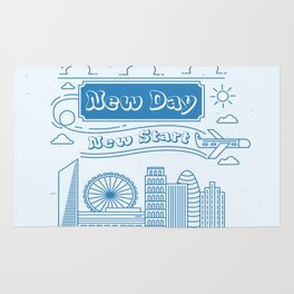 New day New Start Daily Inspirational Motivational Quote Rug