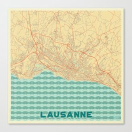 Lausanne Map Retro Canvas Print