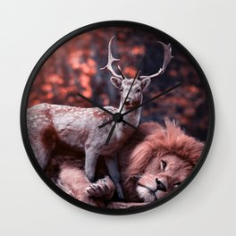 Unlikely Friends, Deer and Lion Wall Clock