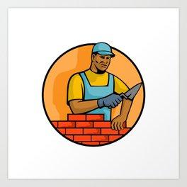 African American Bricklayer Mascot Art Print