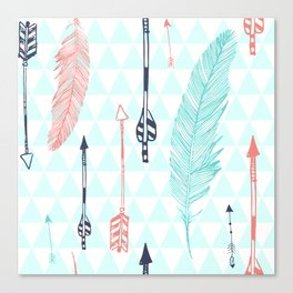 Cute hipster pattern with feather and arrows Canvas Print