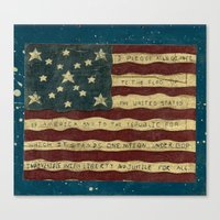american flag Canvas Prints featuring American Flag by Argi Univrs