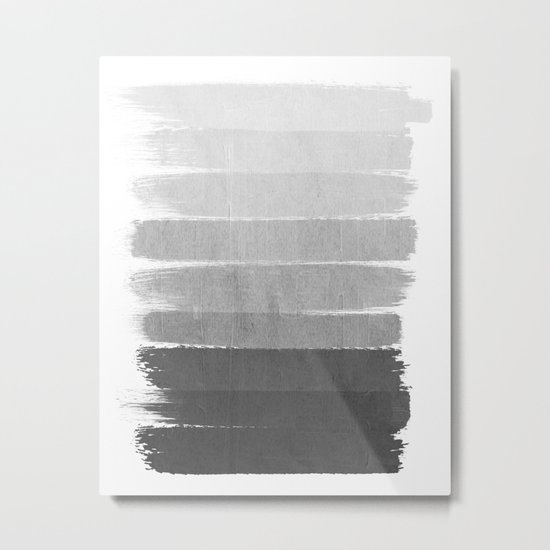 Brushstroke - Ombre Grey, Charcoal, minimal, Monochrome, black and white, trendy,  painterly art  Metal Print