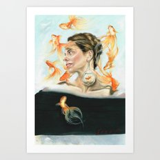 Goldfish Halo Art Print
