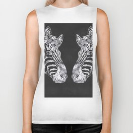 Silver Zebra African Wildlife Biker Tank