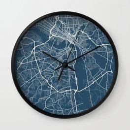Richmond Blueprint Street Map, Richmond Colour Map Prints Wall Clock