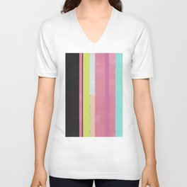 Retro Color Stripes By Hand Painting / Ver.1 Unisex V-Neck