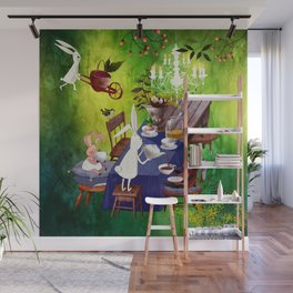 Bunny Tea Party in forest Wall Mural