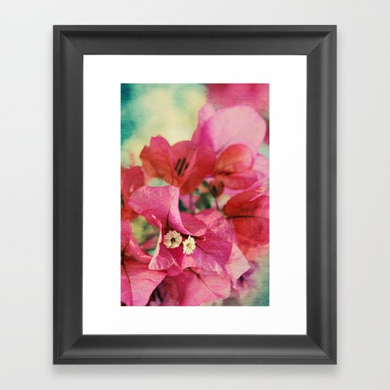 Vintage Bougainvillea Flowers in pink & green with textures Framed Art Print