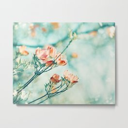 Teal Peach Coral Flower Photography, Aqua Turquoise Orange Dogwood Floral Nature Art Metal Print