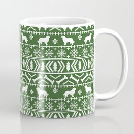 Bernese Mountain Dog fair isle christmas green and white pattern holiday dog breed gifts Coffee Mug
