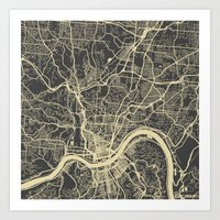 cincinnati Art Prints featuring Cincinnati Yellow by Map Map Maps