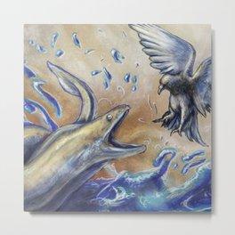 Eel vs. Pigeon Metal Print