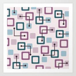 Vintage 1950s Tiles & Squares (Lavender) Art Print