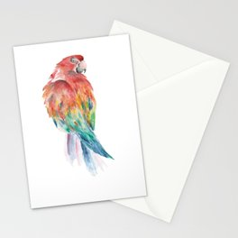 Watercolour Parrot Coloured Drawing with Aquarell colours Stationery Cards