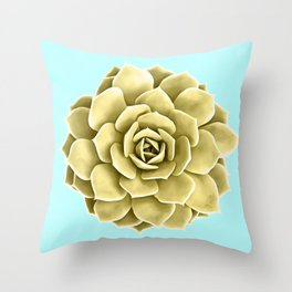Yellow Succulent Plant on Teal Throw Pillow